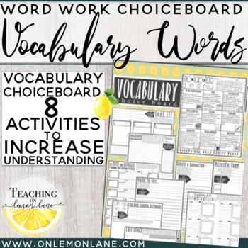 Vocabulary Word Choice Board         Any Subject  (Tic Tac Toe)