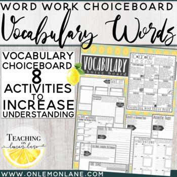 Vocabulary Choice Board / Vocabulary Word Activities Any Subject / Bundle