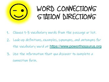 Vocabulary Word Connection Station