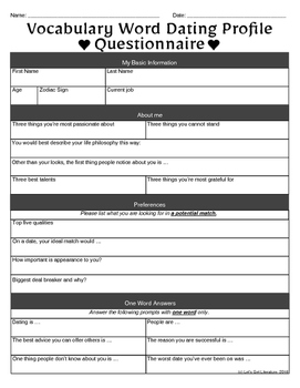 Vocabulary Activity Dating Questionnaire