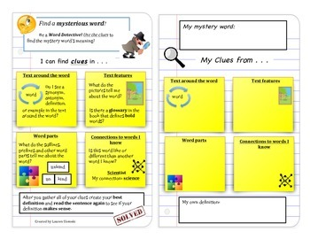 Vocabulary Word Detective Instructional Book Mark