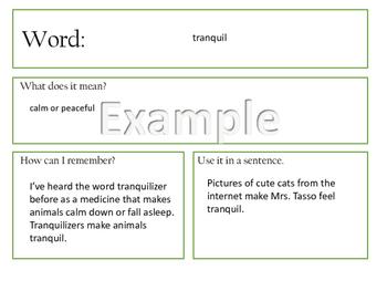 Vocabulary Word Finding Graphic Organizer