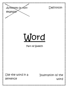 Vocabulary Word Frames/ Frayer Model- Differentiated!