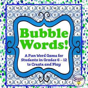 Vocabulary Word Game - Bubble Words - Create Your Own Bubble Board
