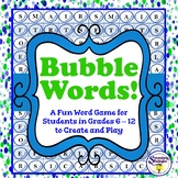 Vocabulary Word Game - Bubble Words - Create Your Own Bubb