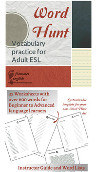 Vocabulary Word Hunt - Adult ESL Scavenger Hunt