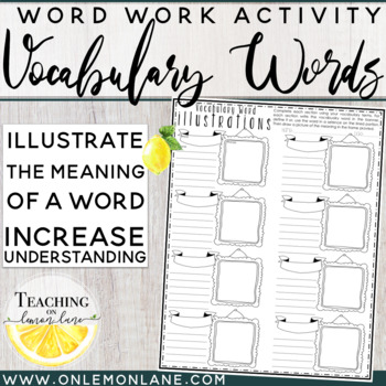 Vocabulary Word Illustrations (Draw a picture to show mean