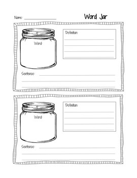 Vocabulary Word Jar set