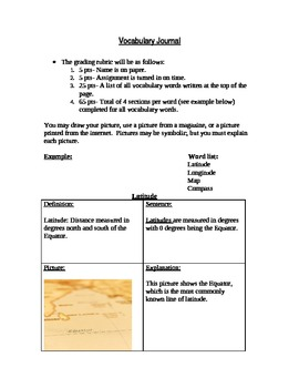 Vocabulary Word Journal