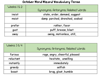 Vocabulary  Word Journal: October and November Set