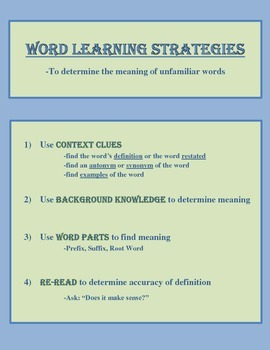 Vocabulary Word Learning Strategies