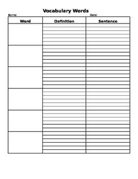 Vocabulary Word List