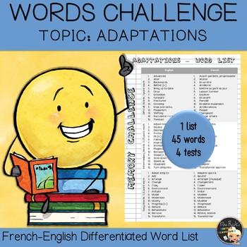 Vocabulary Word List Adaptations
