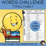 Vocabulary Word List Family
