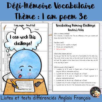 Vocabulary Word List I am poem