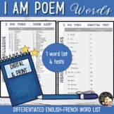 Vocabulary Word List I am poem