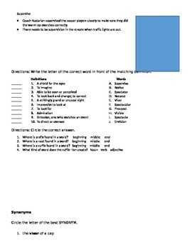 Vocabulary Word List and Activity with the root -spec and -vis