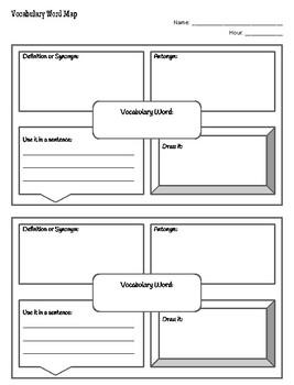 Vocabulary Word Map / Vocabulary Squares