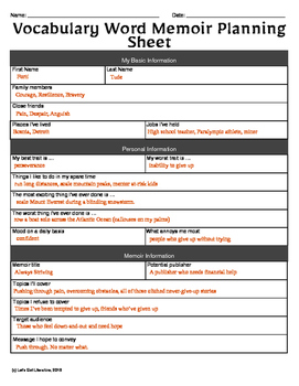Vocabulary Activity Memoir Prep Sheet
