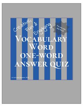 Vocabulary Activity One Word Quiz