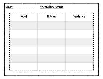 Vocabulary Word Organizer
