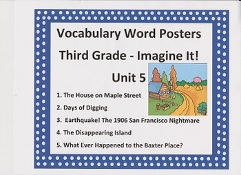 Vocabulary Word Posters:  Imagine It! Grade 3 Unit 5