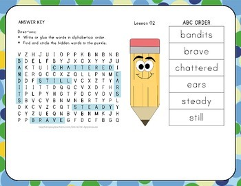 ABC Order with Word Search - The Storm - 1st Grade Lesson 2