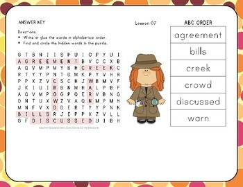 ABC Order with Word Search - How Animals Communicate - 1st Grade Lesson 7