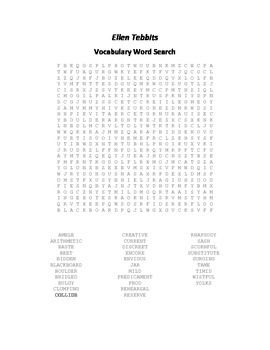 Vocabulary Word Search for Beverly Cleary's Ellen Tebbits