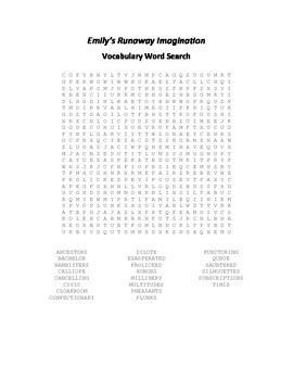 Vocabulary Word Search for Beverly Cleary's Emily's Runaway Imagination
