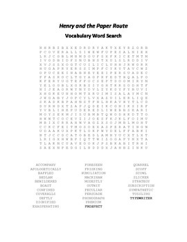 Vocabulary Word Search for Beverly Cleary's Henry and the Paper Route