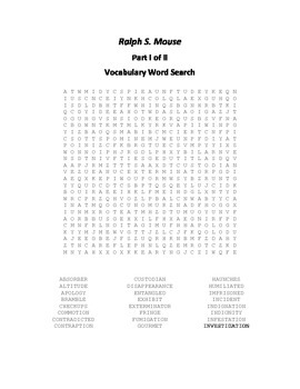 Vocabulary Word Search for Beverly Cleary's Ralph S. Mouse