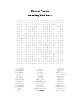 Vocabulary Word Search for Beverly Cleary's Ramona Forever