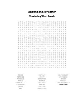 Vocabulary Word Search for Beverly Cleary's Ramona and Her Father