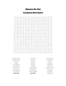 Vocabulary Word Search for Beverly Cleary's Ramona the Pest