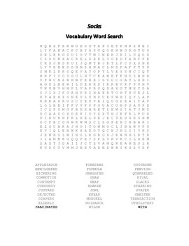 Vocabulary Word Search for Beverly Cleary's Socks