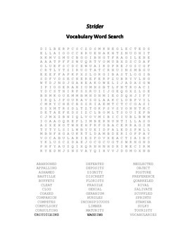 Vocabulary Word Search for Beverly Cleary's Strider