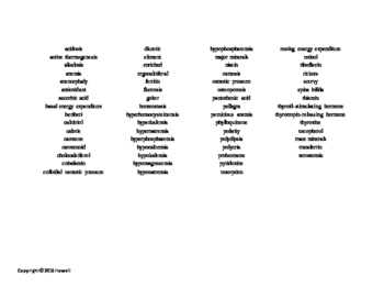 Vocabulary Word Search over the Basic Principles of Nutritional Science Part II