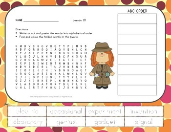 Word Search with ABC Order - Young Thomas Edison - Journey