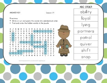 Word Search with ABC Order - Aero and Officer Mike - Journeys Aligned