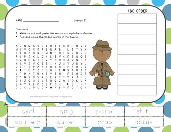 Word Search with ABC Order - Aero and Officer Mike - Journ
