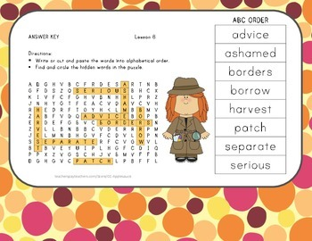Word Search with ABC Order - The Harvest Birds - Journeys Aligned