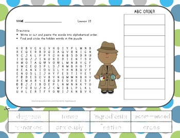 Vocabulary Word Search with ABC Order - The Extra-good Sun