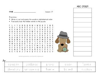 Vocabulary Word Search with ABC Order - Journeys 3rd Grade - Lesson 17