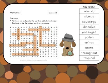 Vocabulary Word Search with ABC Order - Journeys 3rd Grade - Lesson 18