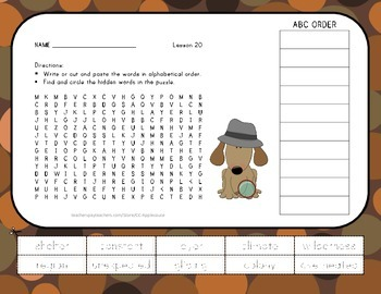 Vocabulary Word Search with ABC Order - Journeys 3rd Grade - Lesson 20