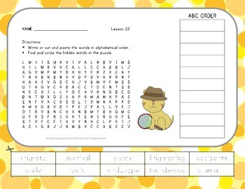 Vocabulary Word Search with ABC Order - Journeys 3rd Grade - Lesson 22