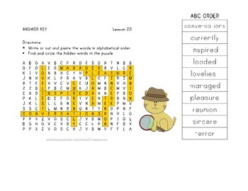 Vocabulary Word Search with ABC Order - Journeys 3rd Grade - Lesson 23