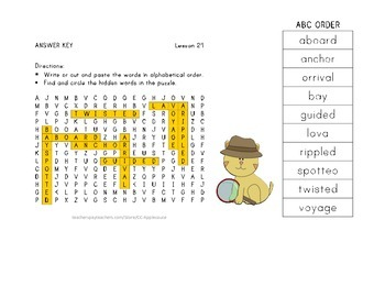 Vocabulary Word Search with ABC Order - Journeys 3rd Grade - Lesson 24