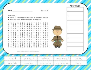 Vocabulary Word Search with ABC Order - Journeys 3rd Grade - Lesson 26